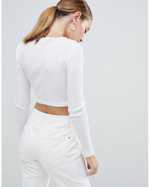 0d994df553a98 Missguided Zip Front Crop Top In White in White - Lyst