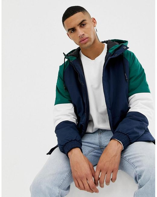 Bershka - Blue Colour Block Hooded Jacket With Padding for Men - Lyst