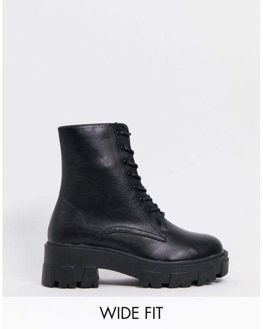 Черные Ботинки На Массивной Подошве Для Широкой Стопы Rexx-черный Цвет Raid Wide Fit, цвет: Black