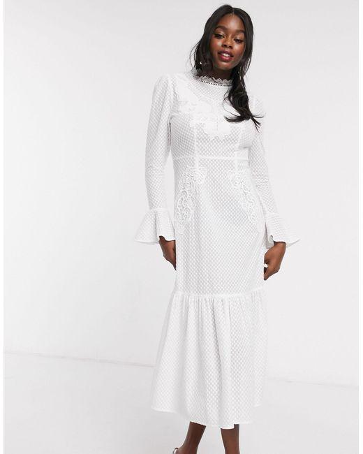 Белое Платье С Длинными Рукавами И Вышивкой -белый Never Fully Dressed, цвет: White