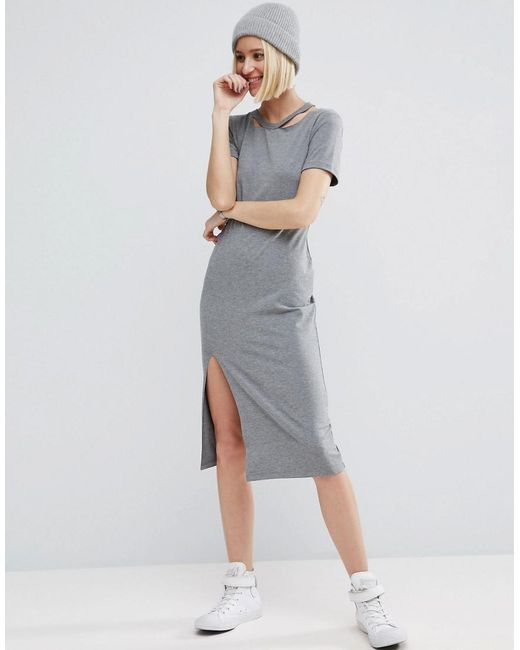 ASOS | Gray T-shirt Dress With Ripped Neck | Lyst