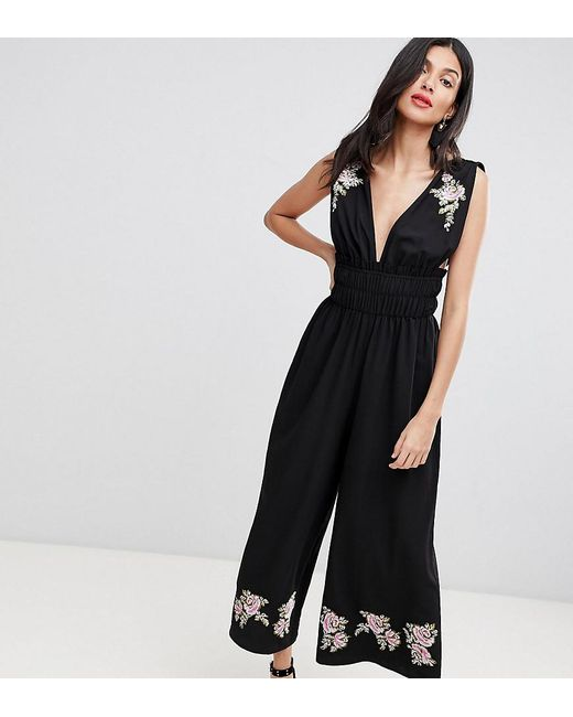 db5d76bddffd ASOS - Black Asos Design Tall Ruched Waist Plunge Jumpsuit With Embroidery  - Lyst ...
