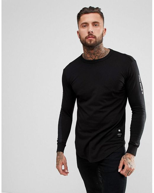 Lyst g star raw beraw taped arm long sleeve t shirt in for Shirts for men with long arms