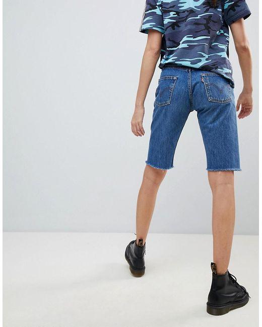 dd7e856668b06 ... Reclaimed (vintage) - Blue Revived Levi s Longline Denim Shorts - Lyst