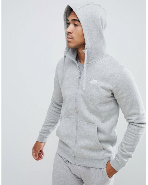Nike Cotton Zip Up Hoodie With Futura Logo In Grey 804389
