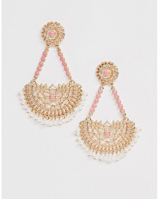 ASOS Metallic Earrings With Cut Out Filigree Drop And Pink Stones In Gold Tone