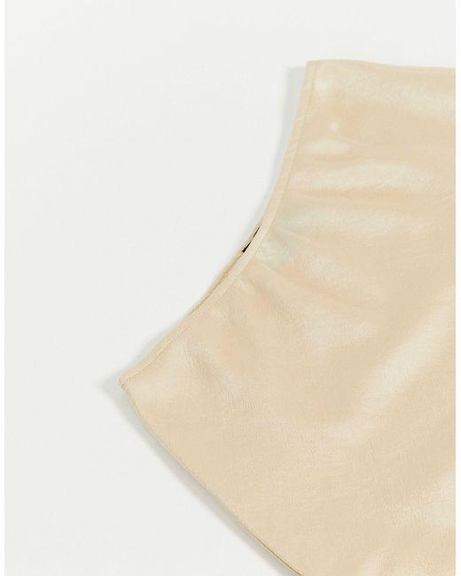 Атласная Мини-юбка ASOS, цвет: Natural