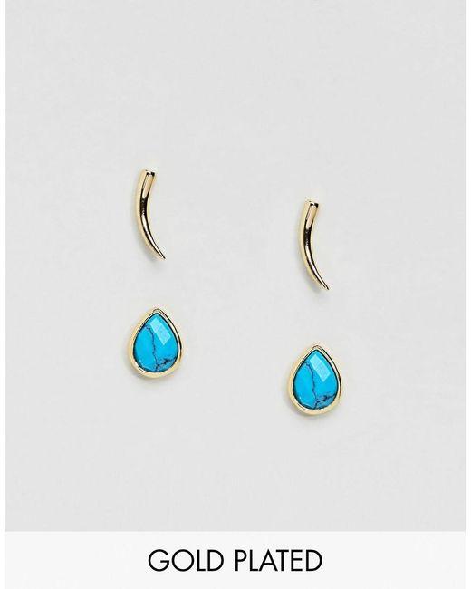 Orelia - Gold & Blue Stud Earrings Pack - Lyst