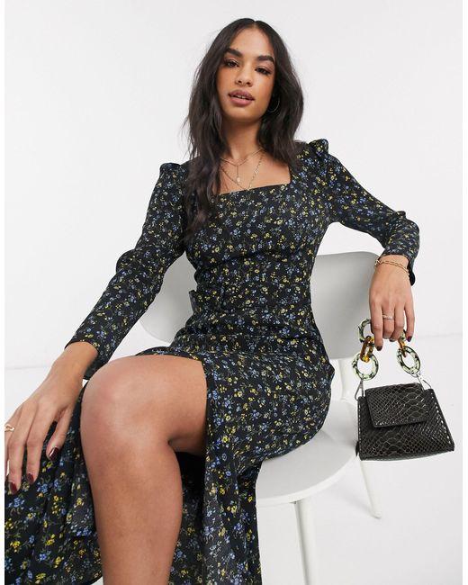 Черное Платье Миди С Квадратным Вырезом -мульти Warehouse, цвет: Black