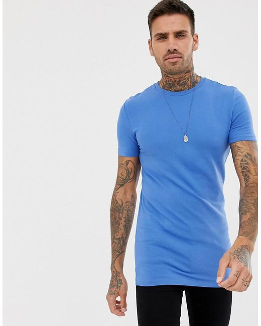 ASOS DESIGN - Asos Longline Muscle Fit T-shirt With Crew Neck In Blue for Men - Lyst