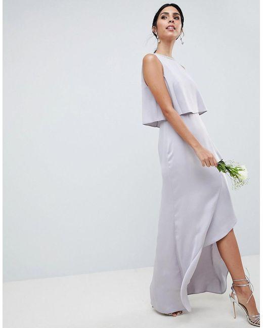 6e5feab4cb3 ASOS - Pink Pearl Trim Crop Top Maxi Dress - Lyst ...