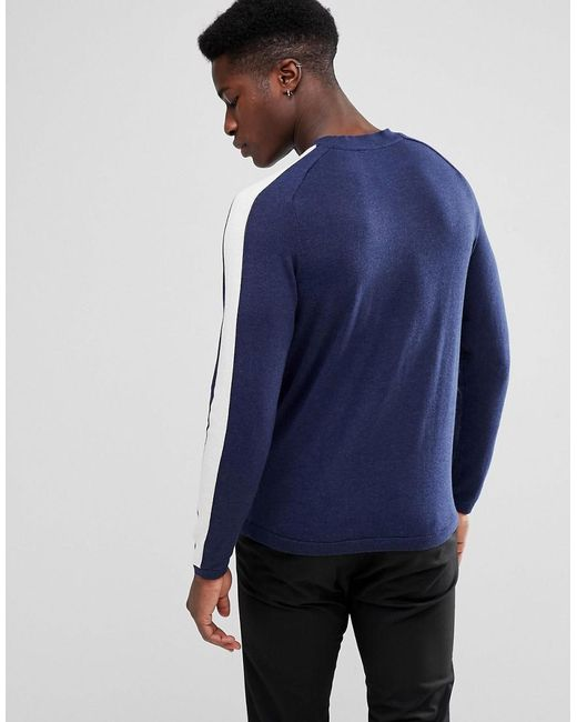 SELECTED - Blue Knit With Striped Raglan Sleeves for Men - Lyst