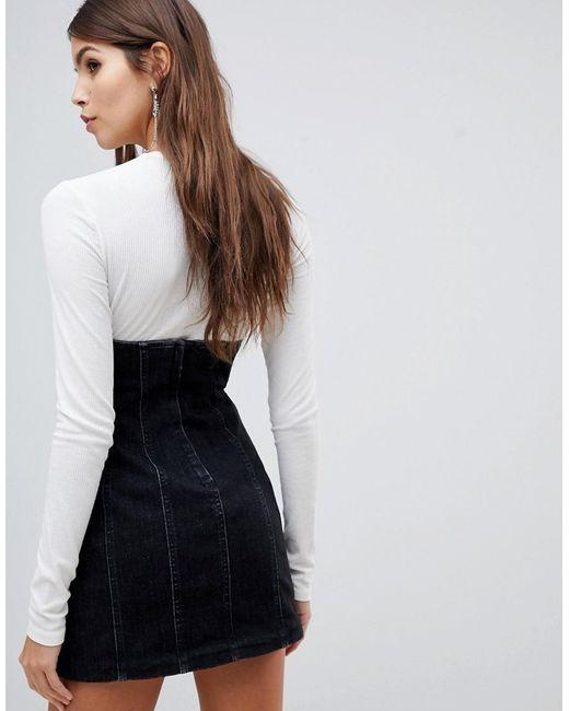 official sale dirt cheap hot-selling Women's Black High Waisted Corset Detail Denim Skirt