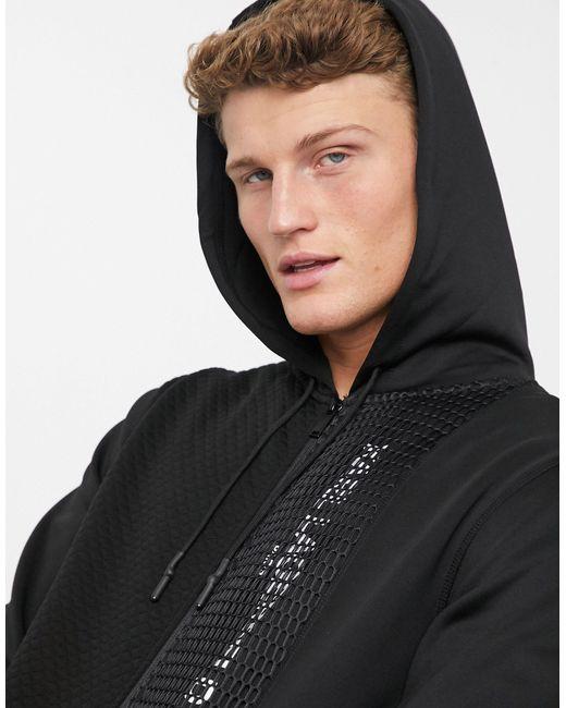 Karl Lagerfeld Black Mesh Contrast Zip Hoody for men