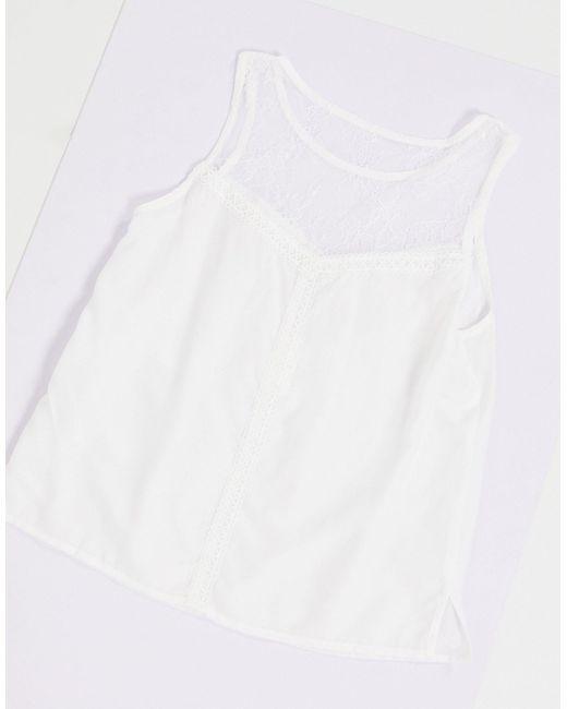 Белый Топ Для Сна С Кружевной Отделкой Vila, цвет: White
