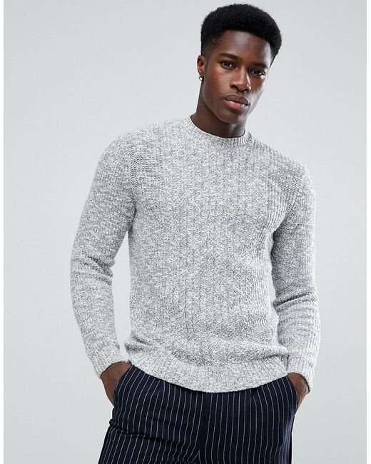 Mango - Gray Man Chunky Knit Jumper In Grey for Men - Lyst