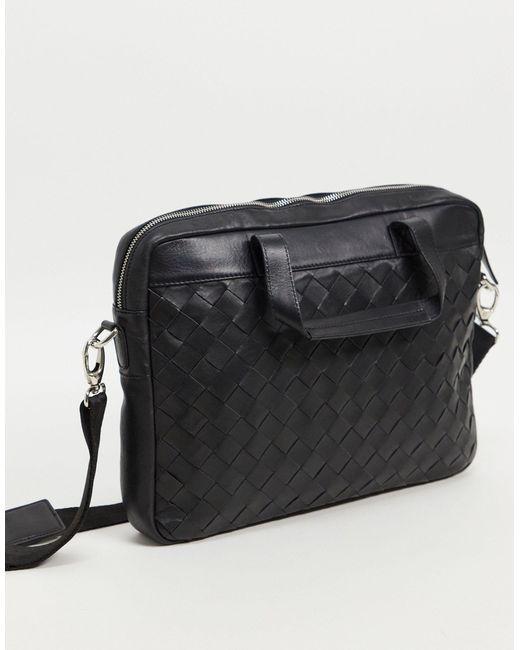 Черный Кожаный Портфель С Плетеным Узором ASOS для него, цвет: Black