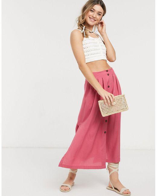 Розовая Юбка Миди С Пуговицами ASOS, цвет: Pink