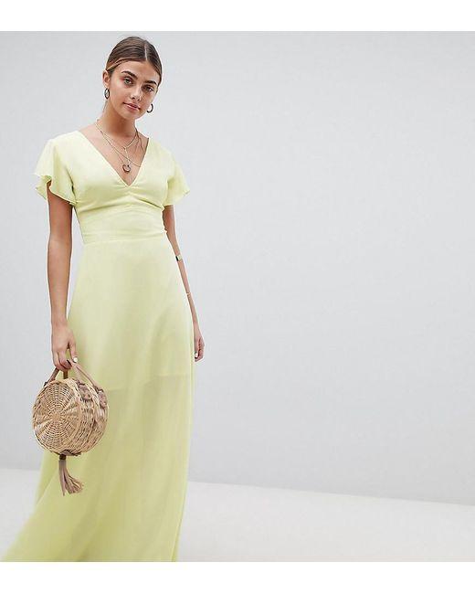 97e85bf0e73 PRETTYLITTLETHING - Yellow Angel Sleeve Maxi Dress - Lyst PRETTYLITTLETHING  ...