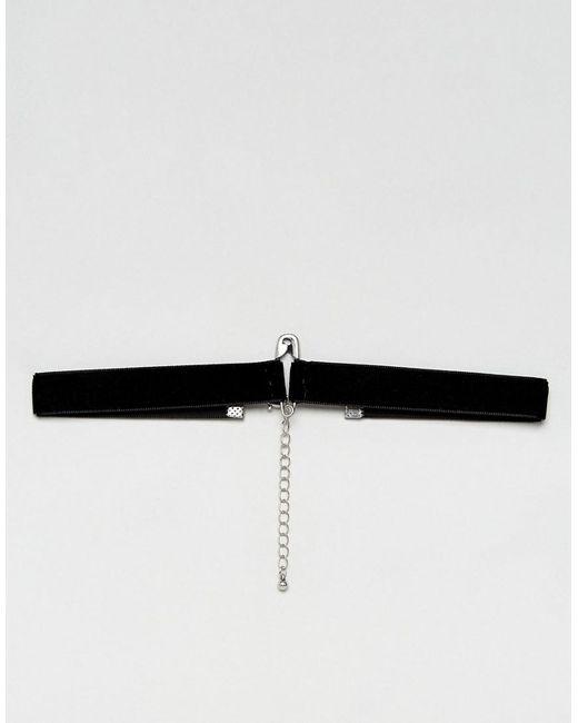 ASOS | Black Choker In Velvet With Safety Pin Charm for Men | Lyst