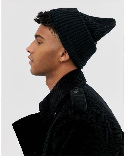 Черная Свободная Шапка-бини ASOS для него, цвет: Black