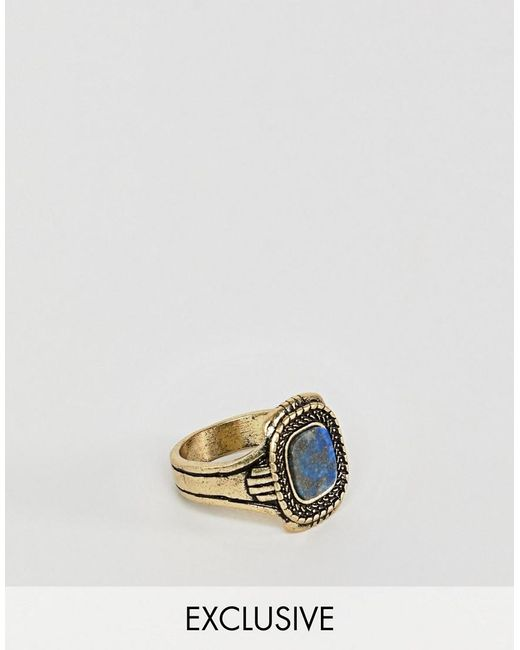 Reclaimed (vintage) - Metallic Inspired Ring With Semi Precious Stone In Burnished Gold Exclusive At Asos for Men - Lyst