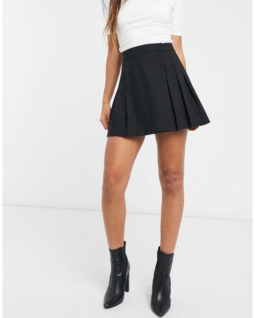 Черная Плиссированная Мини-юбка ASOS, цвет: Black