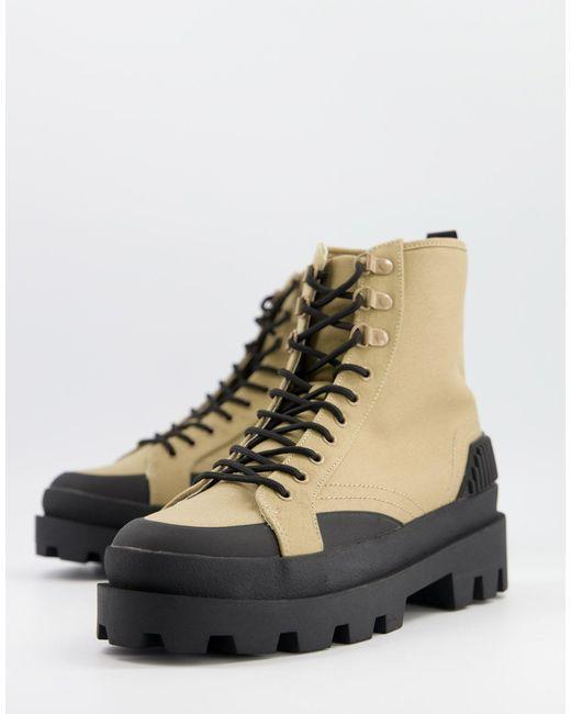 Бежевые Парусиновые Ботинки На Шнуровке И Массивной Черное Подошве ASOS для него, цвет: Brown