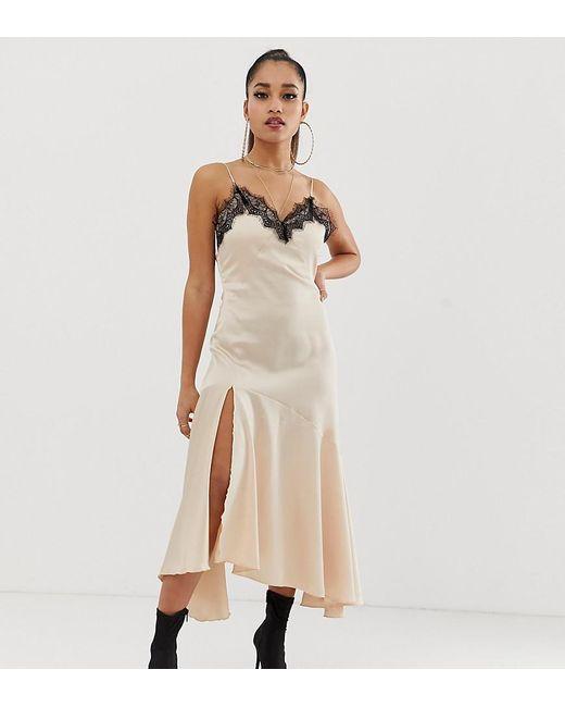 Boohoo Natural Exclusive Satin Slip Dress In Nude