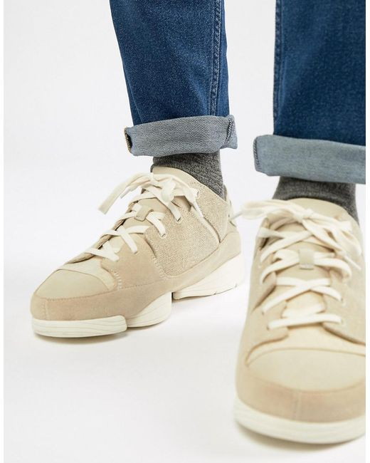 Clarks - White Trigenic Evo Suede Sneakers for Men - Lyst