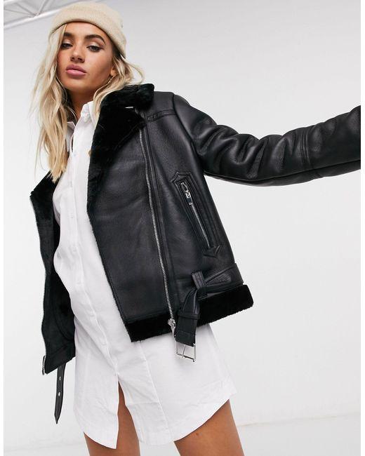 Черная Куртка Из Искусственной Кожи В Байкерском Стиле -черный Цвет TOPSHOP, цвет: Black