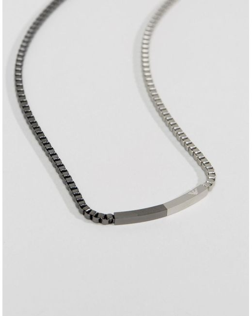 Emporio Armani | Metallic Stainless Steel Chain Necklace for Men | Lyst
