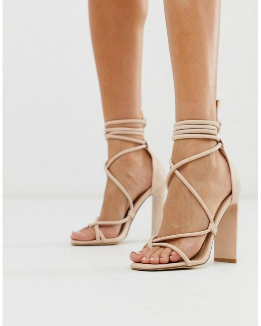 Truffle Collection Natural Toe Loop Heeled Sandals With Tie Leg In Beige
