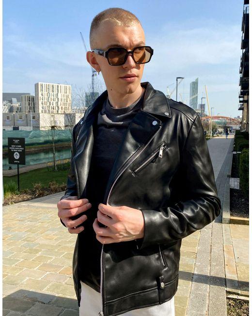 Черная Байкерская Куртка Из Искусственной Кожи ASOS для него, цвет: Black