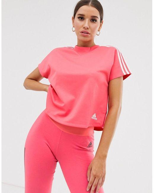 Adidas Originals Adidas Training Boxy Three Stripe T-shirt In Pink