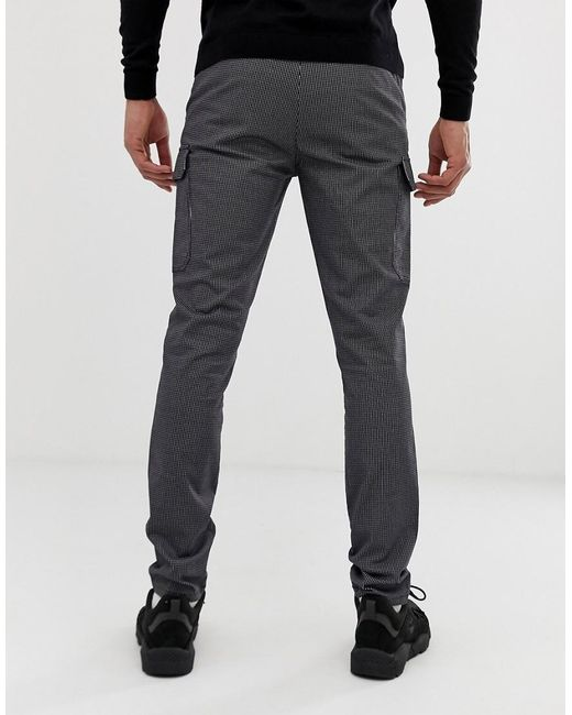 on feet shots of best choice new high quality Tall Skinny Cargo Trousers In Grid Check