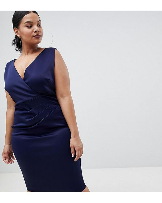 Flounce London - Blue Wrap Front Midi Dress - Lyst