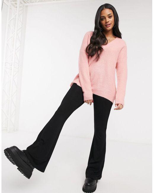 Minky - Maglione extra largo con scollo a V rosa di Brave Soul in Pink