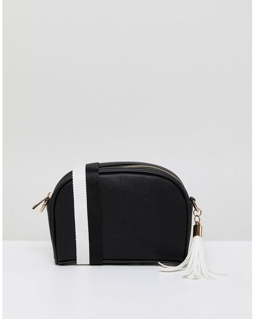 London Rebel - Black And White Quilted Across Body Bag With Tassel Detail - Lyst