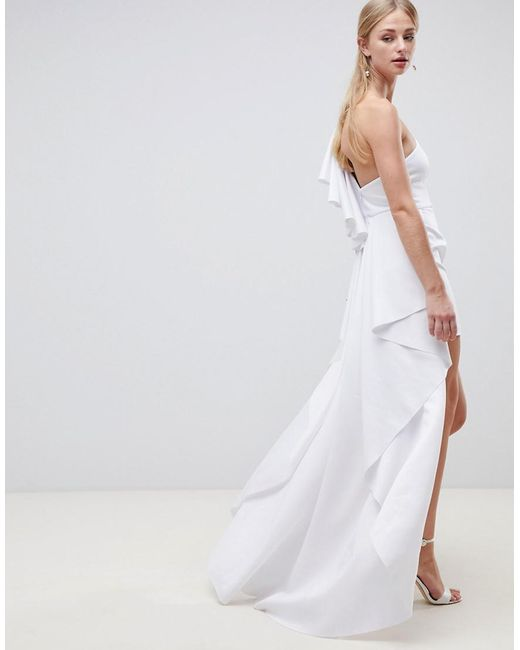 Asymmetric Ruffle Wedding Dress With High Low Hem