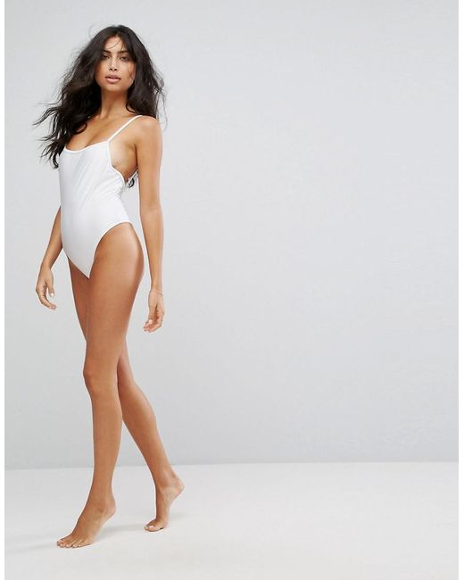 Straight Neck Low Back Strappy Swimsuit - White South Beach Sale Eastbay 3rjUuWChK
