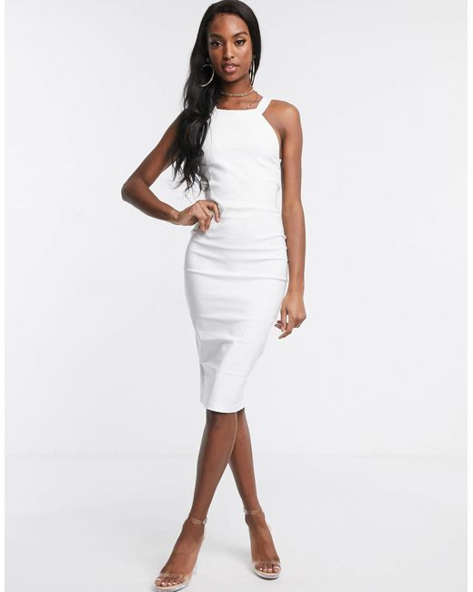 Белое Платье Миди С Перекрестными Бретелями На Спине -белый Vesper, цвет: White