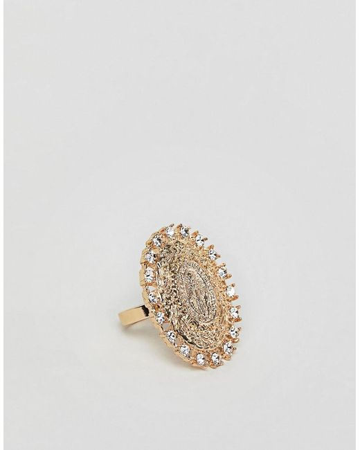 ASOS - Metallic Ring With Vintage Style Icon And Crystals In Gold - Lyst