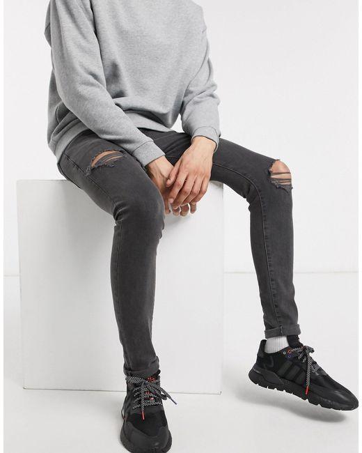 Jeans super skinny con strappi grigi di New Look in Gray da Uomo