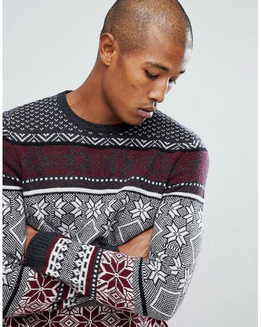 Asos Lambswool Fairisle Sweater In Charcoal in Gray for Men - Save ...
