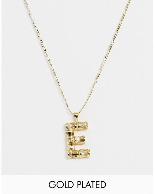 ASOS Metallic Gold Plated Necklace With Vintage Style Textured 'e' Initial Pendant