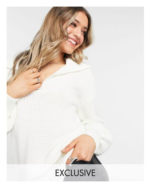 Jersey color crema con solapas Reclaimed (vintage) de color Natural
