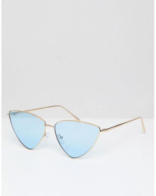 2f03c9de35 ASOS - Metallic Extreme Almond Cat Eye Sunglasses With Blue Lens - Lyst ...