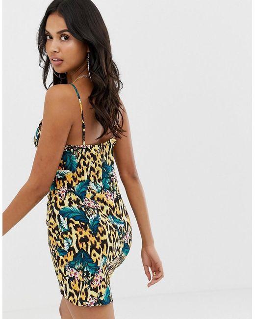 Drape Front Cami Beach Dress In Tropical Animal Print