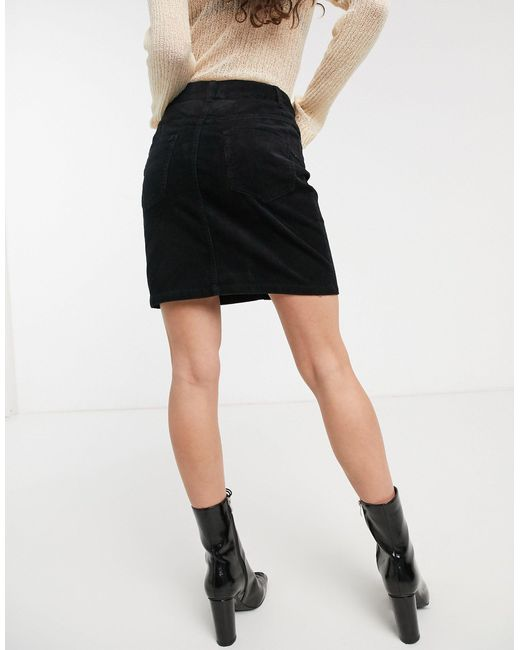 Черная Вельветовая Юбка ASOS, цвет: Black